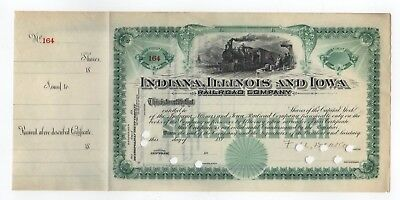 189- Indiana, Illinois and Iowa Railroad Company Stock Certificate