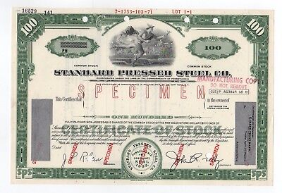 SPECIMEN - Standard Pressed Steel Co. Stock Certificate