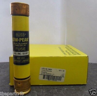 New Lot Bussmann LPS-RK-50SP 50 Amp Low Peak Fuses RK 600 Volts NIB