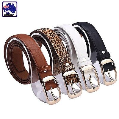 Belt Brown White Black Leopard Coffee Artificial Leather Women Lady Girl CBELT38