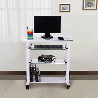 HOMCOM Computer Workstation w/ Wheels Laptop PC Desk Glass Table Stand White
