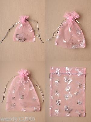 Pack Of Pink Organza Bags With Silver Butterfly Print; Gift, Jewellery, Favour