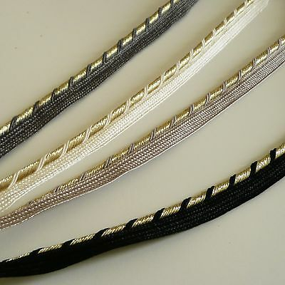 Luxury twisted gold lurex flanged insert piping cord - black, cream, grey, beige