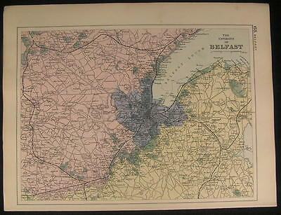 Environs Belfast White Mountain Ireland c.1890 antique color lithograph map