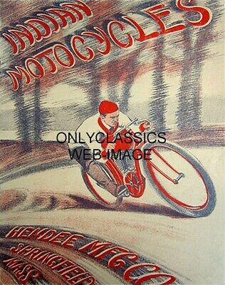 Vintage Indian Motorcycle Racing Poster Flat Track Cycle Racer Springfieled Ma