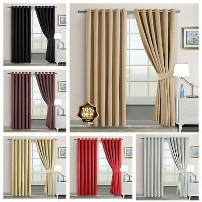 Thermal Eyelet Ring Blackout PAIR of Curtains Ready Made inc Free Tiebacks