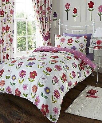 Little Flowers Duvet Quilt Cover Floral & Polka Dot Girls Bedding Bed Set Pink