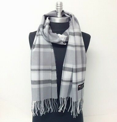 New 100% CASHMERE SCARF Check Plaid Gray / Silver SCOTLAND Wool Wrap SOFT Warm