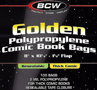 200 Golden Resealable Thick Bags and Boards Archival Comic Storage