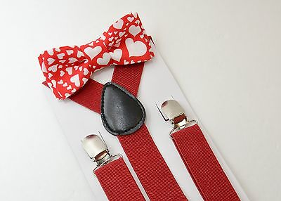 Kids Boys Mens Red Suspenders & Hearts Valentines Bow tie SET 6mon - ADULT