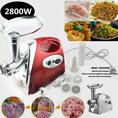 2800W Meat Grinder Electric Mincer Sausage Filler Mince Meat Homemade Burger Red