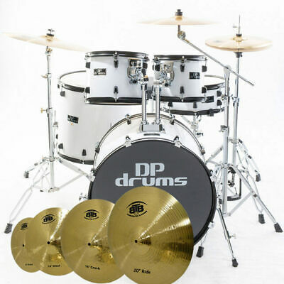 Studio Xtreme 5 Piece Drum Kit + BTB20 14 16 20 Cymbal Set+ Stool White DP Drums