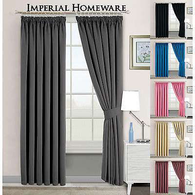 Light Reducing Thermal Blackout Pencil Pleat Ready Made Curtains With Tie Backs