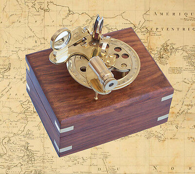 "4"" Brass Round Sextant With Rosewood Box"