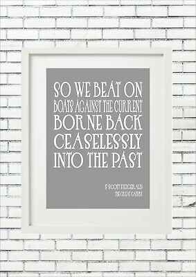 So We Beat On F Scott Fitzgerald The Great Gatsby Inspiring Quote Word Wall Art
