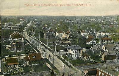 Indiana, IN, Wabash, Wabash Street fr Court House Tower 1908 Postcard