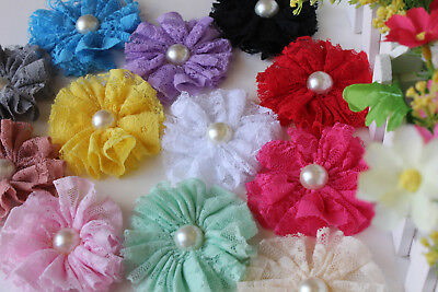 "DIY Flower Wedding 2.5"" Pearl Floral Embellishment Craft foe Baby Headband Lace"