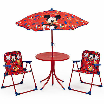 Delta Children Disney Mickey Mouse Kids Outdoor Patio Set Table Chairs Umbrella