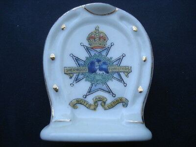 Scarce Ww1Sherwood Forresters Notts&derby Horseshoe Shape Souvenir Crested China