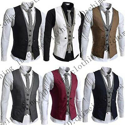 "New Mens Party Formal Wedding Waistcoat Casual Chest Dinner Suit Size 36""- 42"""