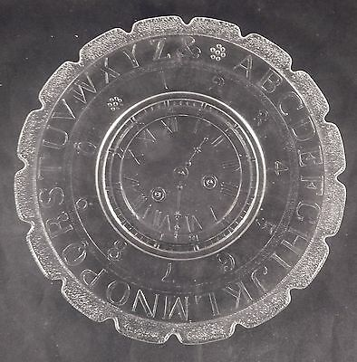 CHILDREN'S ABC PLATE with CLOCK Alphabet Numbers Repro of 1890 RIPLEY GLASS