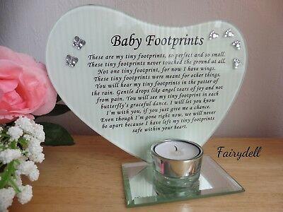 'baby Footprints' Glass Message Plaque & Candle Holder ~ Baby Loss ~ Bereavement
