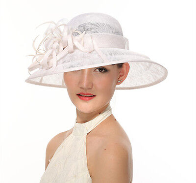 Church Kentucky Derby Carriage Wedding Tea Party Wide brim Sinamay Hat White