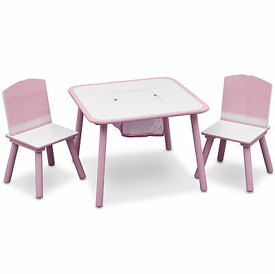 New Delta Children Pink Storage Girls Table & Chairs Set For Bedroom / Playroom