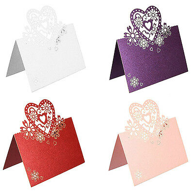 50PCS Ivory Heart Laser Cut Table Place Cards Name Number Wedding Party Decor