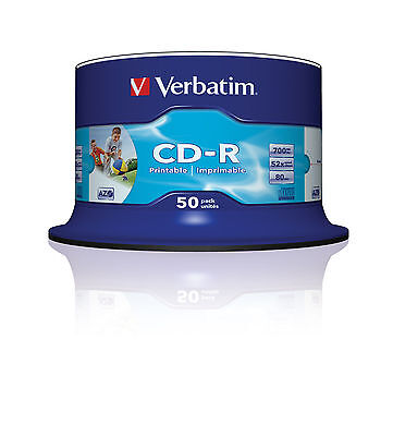 50 PACK SPINDLE VERBATIM BLANK INKJET PRINTABLE CD-R DISCS 52x 700MB 80 MINS