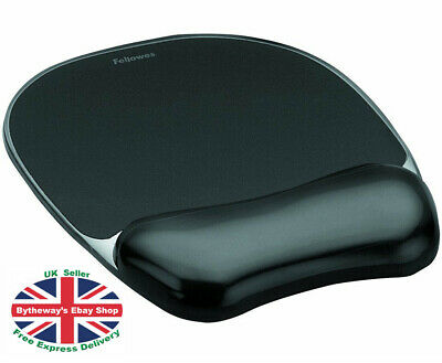 Fellowes Crystals Gel Mouse Pad / Wrist Support BLACK *BRAND NEW*