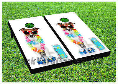 Incredible Beach Dog Cornhole Beanbag Toss Game W Bags Game Board Bralicious Painted Fabric Chair Ideas Braliciousco