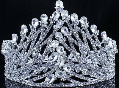 Wreath Full Crown Clear Austrian Crystal Rhinestone Tiara Pageant Bridal T11984