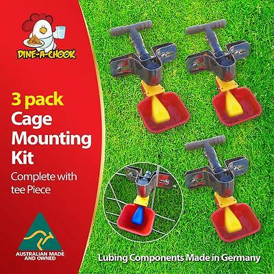 Dine a Chook Cage Mounting Lubing Cups - Chicken Feeder / Chicken Drinker 3 Pack