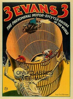 Vintage Wall Of Death Motorcycle Daredevil Motor Bicycle Racers Poster Graphics