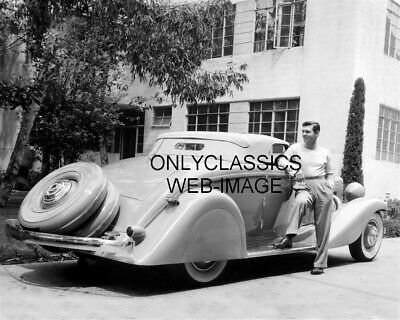 1935 Cool Clark Gable Posing By His Classic Duesenberg Convertible Car Photo
