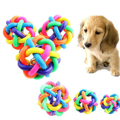 AC IN Dog Puppy Pet Knot Cotton Rope knotted Rubber Sound Ball Bell Chewing Toy