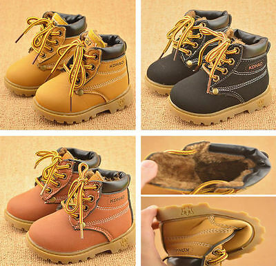 Kids Boys Girls Army Casual Sports Soft Boot Lace Boots Walking Tooling Shoes