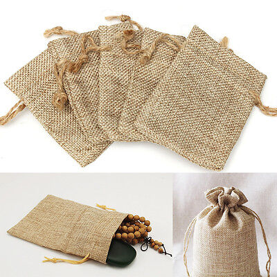 20Pcs Linen Jewellery Pouch Ring Beads Watch Mini Candy Burlap Jute Bags Gift