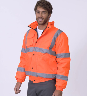 Uneek High Visibility Bomber Jacket 300 Denier Hi Vis Viz Workwear (UC804)