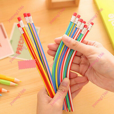 5x Magic Stationery Flexible Soft Bending Pencil With Eraser For Kids Writing CA