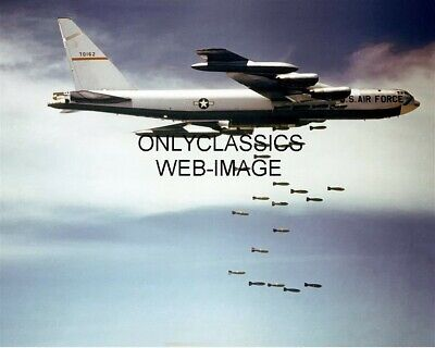 B-52 Stratofortress Bomber Photo Jet Airplane Aviation Dropping Payload of Bombs
