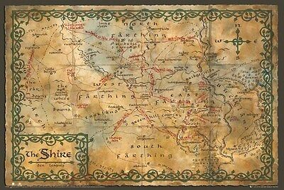 New The Hobbit The Desolation of Smaug Map of the Shire Poster