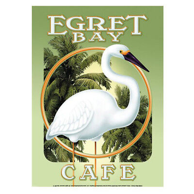 Egret Bay Cafe Heron Tropical Metal Sign Hawaiian Tiki Bar Decor 11.8 x 16.8