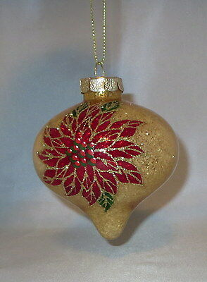 """Poinsettia Glass Christmas Ornament Gold Glitter Accents Flowers 3.5"""" High New"""