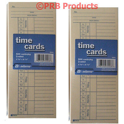 1000 (2 x 500) 2 Sided Time Cards Employee Punch Payroll Amano Clock Adams 9664A