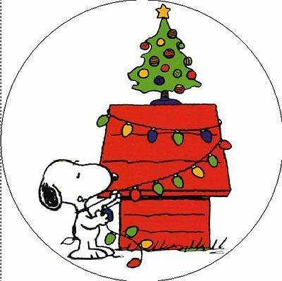 """SNOOPY & CHRISTMAS TREE - 1"""" Sticker / Seal Labels!"""