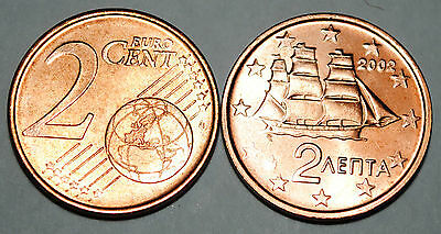 2003 Greece 1 Cent Coin Unc from Roll BU Nice KM#181