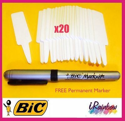 Plant Label 95mm x 20pcs + Permanent Marker - Great for Propagation & Seedling