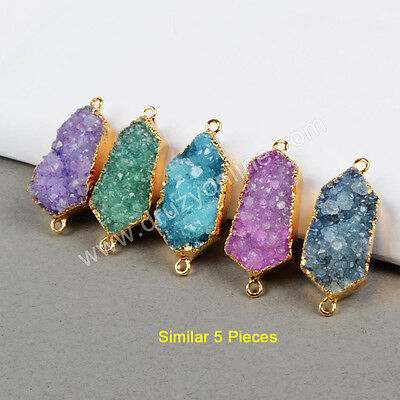 Free Wholesale 5Pcs Gold Plated Rainbow Agate Druzy Geode Connector TG0418